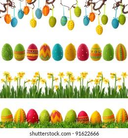 Frühlingskollektion mit bunten Ostereiern