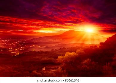 Guanyin Mountain Sunrise, das neue Taipeh, Taiwan