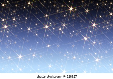 blue gradient background blotched with shiny stars
