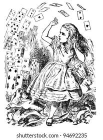 """Alice en een pak kaarten. Gravure door John Tenniel (Verenigd Koninkrijk, 1872). Illustratie uit boek """""""" Alice's Adventures in Wonderland """", uitgever"""" Nauka """"Moskou, USSR, 1979"""