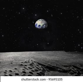 月から見た地球「NASAから提供されたこの画像の要素」