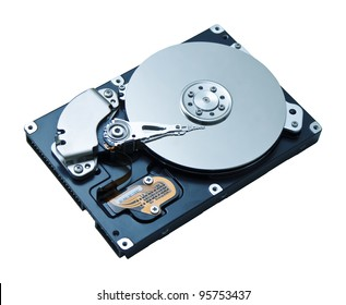 Unidad de disco duro HDD aislado sobre fondo blanco.