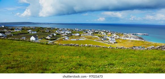 Panoramic landscape of Inisheer Island, part of Aran Islands, Ireland.