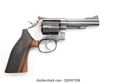 Image of .38 Cal Revolver close up isolated.