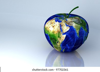 image of 3d earth in shape of apple against abstract background