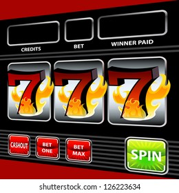An image of a 3d flaming lucky seven slot machine.