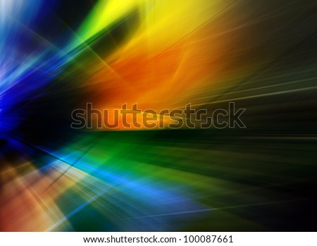 Beautiful abstract background in blue, green, yellow and orange tones representing speed and action.
