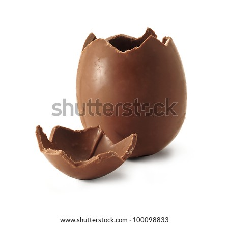 Chocolate Easter egg with the top broken off Royalty-Free Stock Photo #100098833