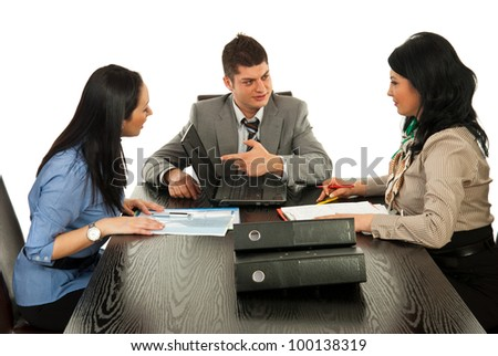 Business people having discussion and business man pointing to laptop screen #100138319
