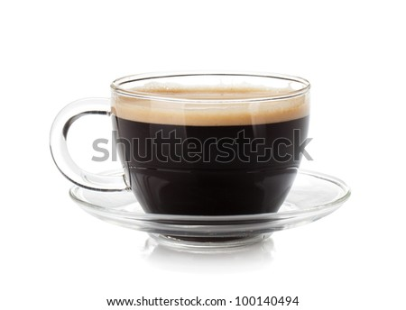 Espresso coffee in glass cup. Isolated on white background #100140494