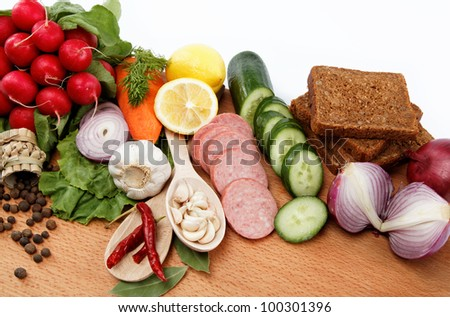 Healthy food. Fresh vegetables and fruits on a white background. #100301396