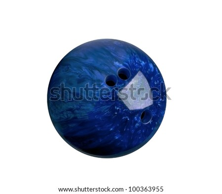blue marbled bowling ball isolated on white #100363955