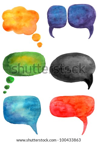 Set of watercolor speech bubbles in different colors. Hand drawn communication sign design