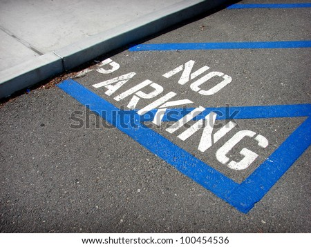 stenciled on ground no parking sign