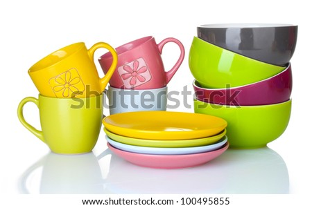 bright empty bowls, cups and plates isolated on white #100495855