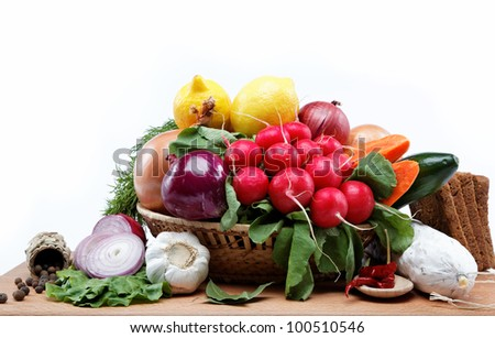 Healthy food. Fresh vegetables and fruits on a white background. #100510546