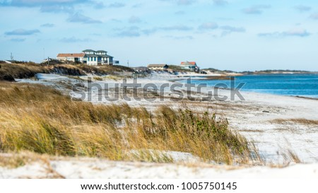 Beach Front Houses at the coast of North Carolina with sand, sea grass and ocean in the foreground. #1005750145