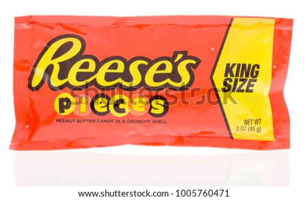 Winneconne, WI - 18 January 2018: A package of a King Size Reese's pieces on an isolated background. #1005760471