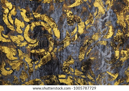 surface of old gold paint on dirty wood for background #1005787729