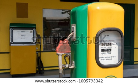 Old retro vintage oil pump station or oil dispenser in petrol station. Close up of vintage old station with pump and copy space for text and background. #1005793342
