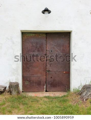 Vintage retro door. Lock door. #1005890959