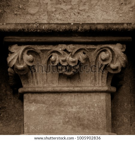 Column Capital L West Facade of Wells Cathedral, Sepia Tone Shallow Depth of Field, Architecture Detail, Dark Photography, Somerset England 2018 #1005902836