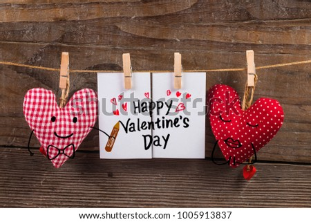 Happy Valentines day and heart. Card with Happy Valentines day and heart on wooden background #1005913837
