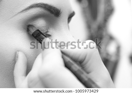 Makeup artist doing eyemakeup with brush. Eyeshadow in the corner of the eyelid. Closeup side view. Black and white photo. Unfocused background. #1005973429
