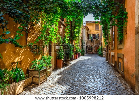 Old street in Trastevere, Rome, Italy. Trastevere is rione of Rome, on the west bank of the Tiber in Rome, Lazio, Italy.  Architecture and landmark of Rome Royalty-Free Stock Photo #1005998212