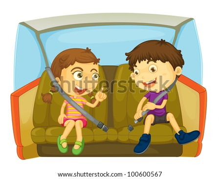 cartoon of kids in a car - EPS VECTOR format also available in my portfolio.