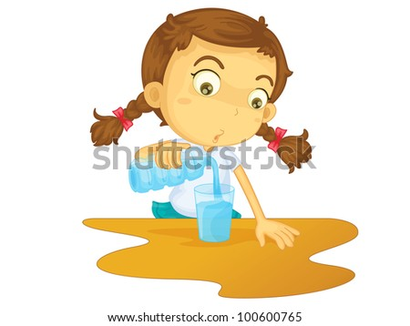Illustration of girl pouring water - EPS VECTOR format also available in my portfolio.