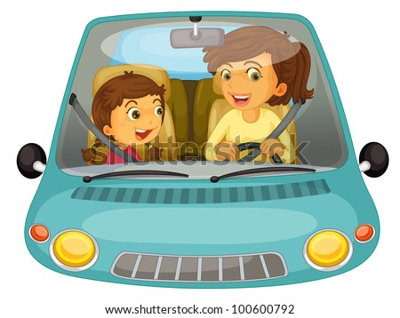 Illustration of mother and daughter driving - EPS VECTOR format also available in my portfolio.
