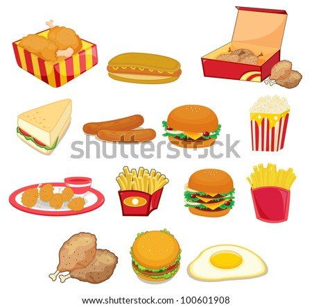 Illustration of junk food on w - EPS VECTOR format also available in my portfolio.
