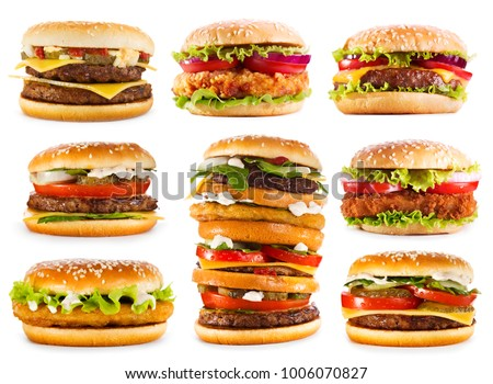 set of various hamburgers isolated on white background