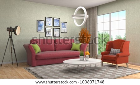 Interior living room. 3d illustration #1006071748