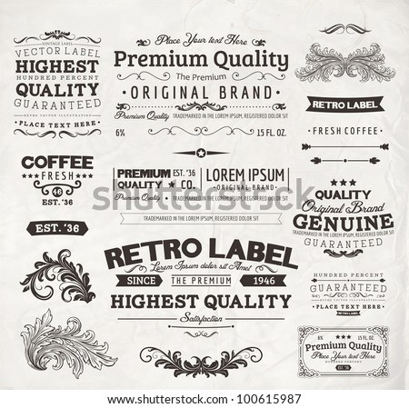 Retro elements for calligraphic designs | Vintage ornaments | Premium Quality labels | Guaranteed, Coffee and Genuine labels | eps10 vector set