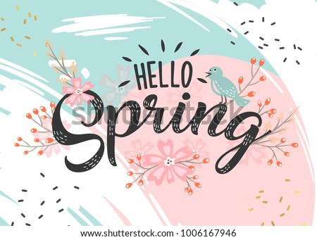 Hello Spring hand sketched logotype, badge typography icon. Lettering spring season with leaf for greeting card, invitation template. Retro, vintage lettering banner poster template background Royalty-Free Stock Photo #1006167946