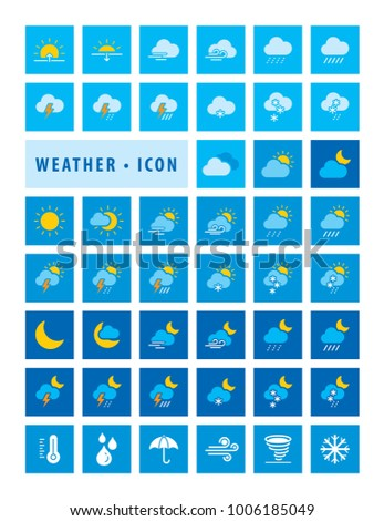 Modern Weather forecast Icons and Sign symbol, Set of Color Climate Icons, Vector illustration. #1006185049