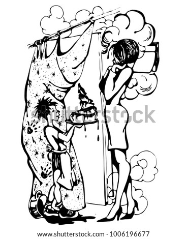 Mothers Day. The child himself baked a cake for his mother. Black and white graphic isolated illustration. #1006196677