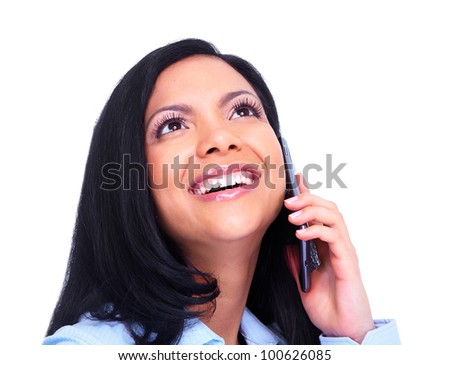 Young hispanic business woman calling by phone. Isolated on white background. #100626085