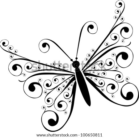 Black butterfly Isolated on White Background. illustration