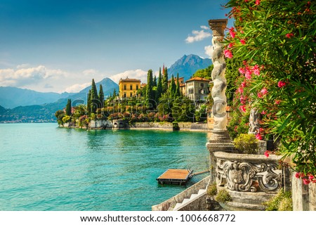 Famous luxury villa Monastero, stunning botanical garden decorated with mediterranean oleander flowers, lake Como, Varenna, Lombardy region, Italy, Europe #1006668772