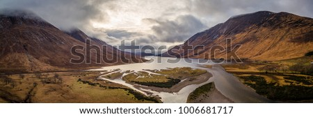 landscape view of scotland and glen etive from an aerial viewpoint in panoramic landscape formata #1006681717