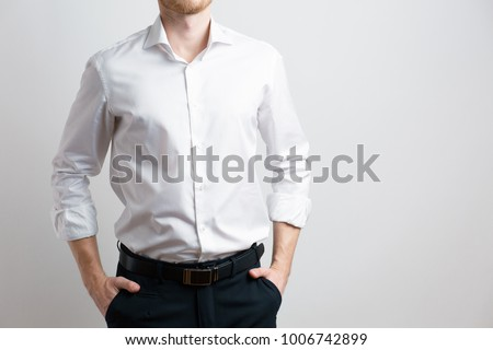 man in white shirt, businessman in pants and shirt, on white background #1006742899