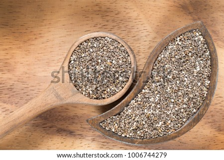 Chia seeds in wooden bowl and spoon #1006744279
