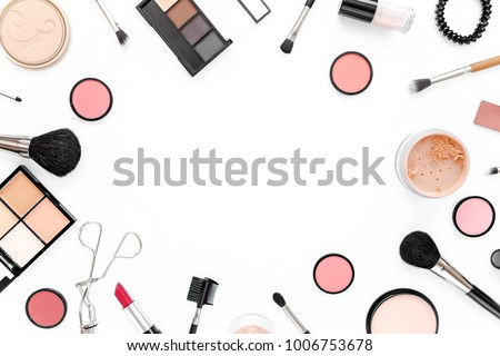 Professional makeup tools. Makeup tools brushes. Flat composition. magazines, social media. Top view. Flat lay. #1006753678