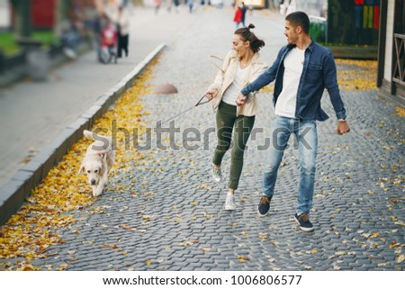 brunette couple walking their golden retriever dog in the city on a sunny autumn day #1006806577