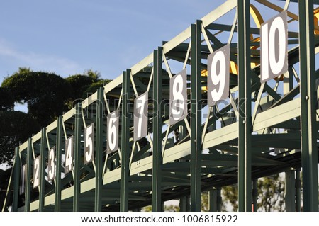 Horse race starting gate Royalty-Free Stock Photo #1006815922