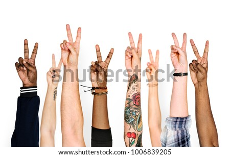 Variation hands with peace sign #1006839205