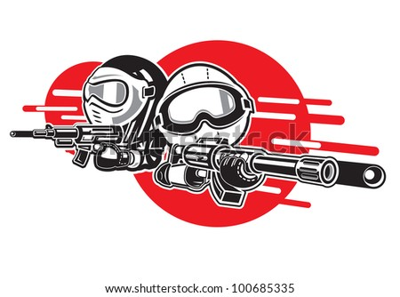 Cartoon Boy and Girl play airsoft guns.